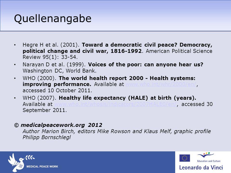 Quellenangabe Hegre H et al. (2001). Toward a democratic civil peace? Democracy, political change and civil war, 1816-1992. American Political Science
