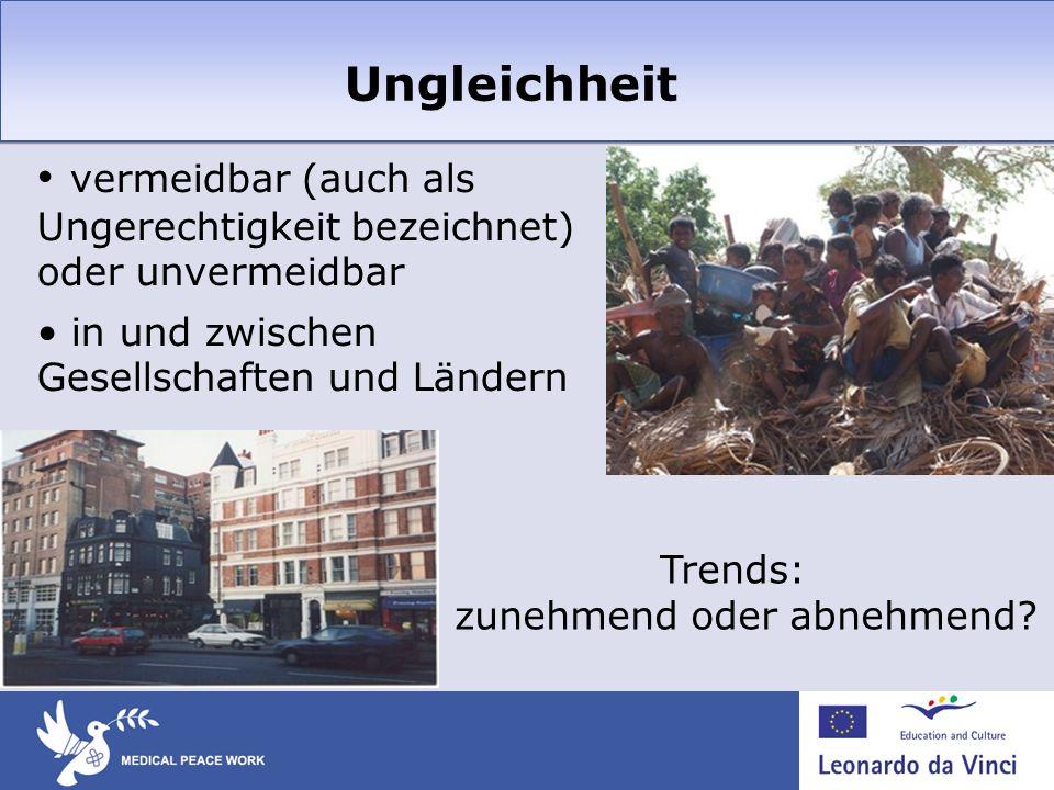 Ungleichheit vermeidbar (auch als Ungerechtigkeit bezeichnet) oder unvermeidbar in und zwischen Gesellschaften und Ländern Trends: zunehmend oder abne