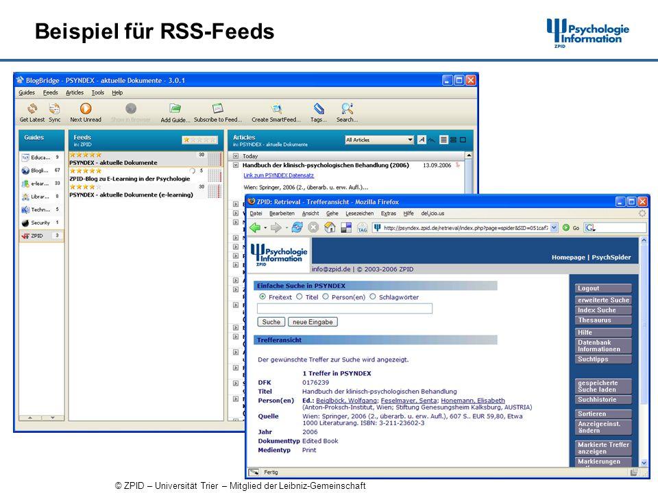© ZPID – Universität Trier – Mitglied der Leibniz-Gemeinschaft Beispiel für RSS-Feeds