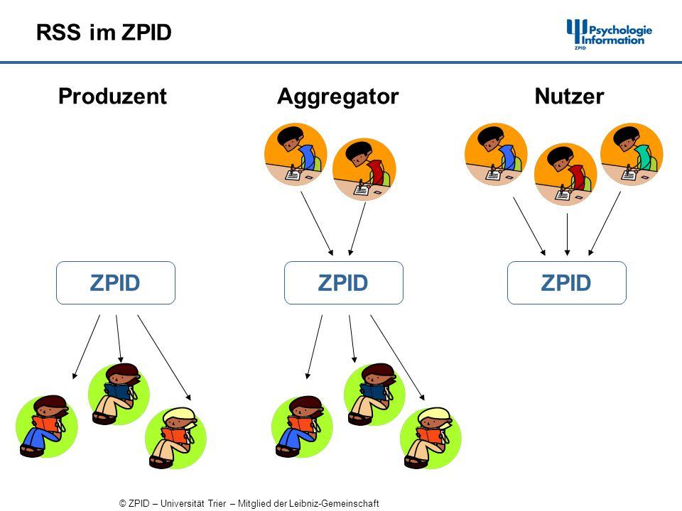 © ZPID – Universität Trier – Mitglied der Leibniz-Gemeinschaft RSS im ZPID ZPID Produzent ZPID AggregatorNutzer