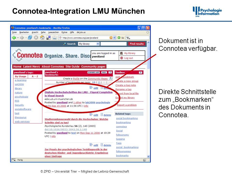 © ZPID – Universität Trier – Mitglied der Leibniz-Gemeinschaft Connotea-Integration LMU München Direkte Schnittstelle zum Bookmarken des Dokuments in Connotea.