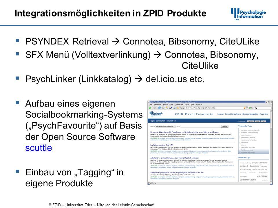 © ZPID – Universität Trier – Mitglied der Leibniz-Gemeinschaft Integrationsmöglichkeiten in ZPID Produkte PSYNDEX Retrieval Connotea, Bibsonomy, CiteULike SFX Menü (Volltextverlinkung) Connotea, Bibsonomy, CiteUlike PsychLinker (Linkkatalog) del.icio.us etc.