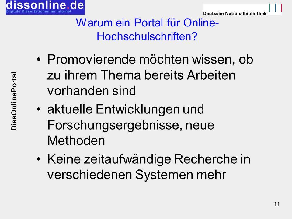 11 Warum ein Portal für Online- Hochschulschriften? Promovierende möchten wissen, ob zu ihrem Thema bereits Arbeiten vorhanden sind aktuelle Entwicklu