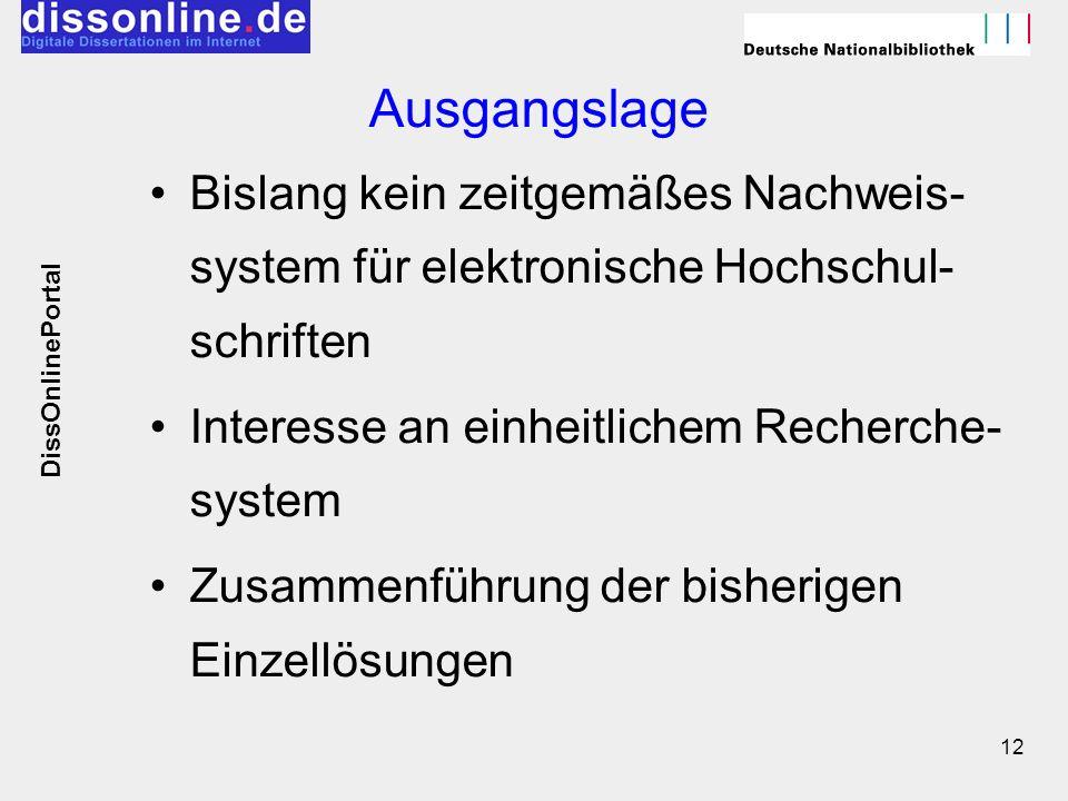 12 Ausgangslage Bislang kein zeitgemäßes Nachweis- system für elektronische Hochschul- schriften Interesse an einheitlichem Recherche- system Zusammen