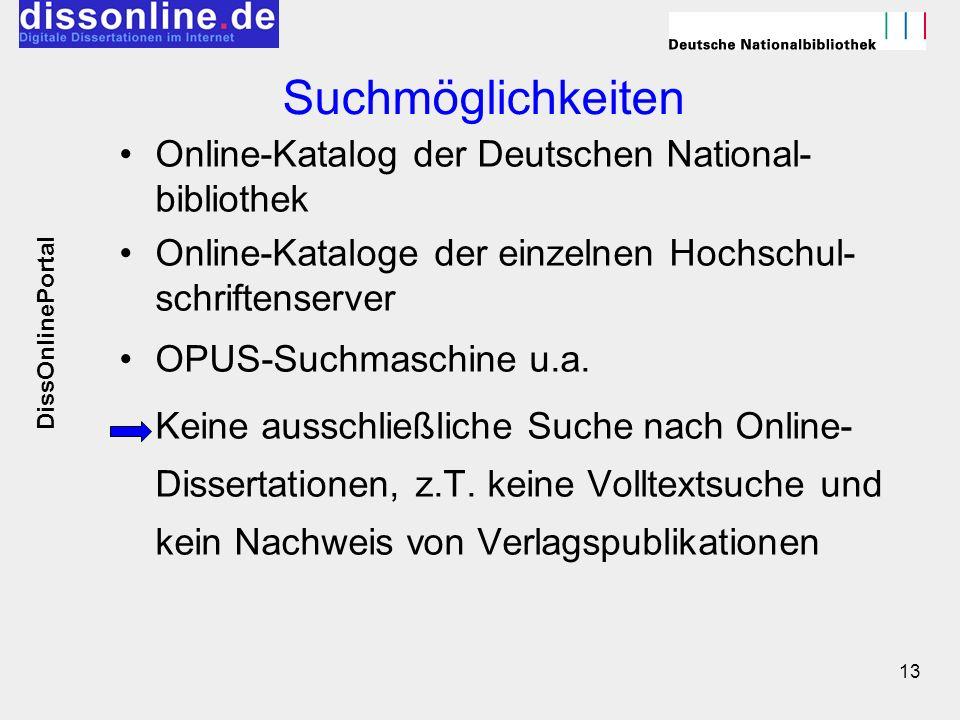 13 Suchmöglichkeiten Online-Katalog der Deutschen National- bibliothek Online-Kataloge der einzelnen Hochschul- schriftenserver OPUS-Suchmaschine u.a.