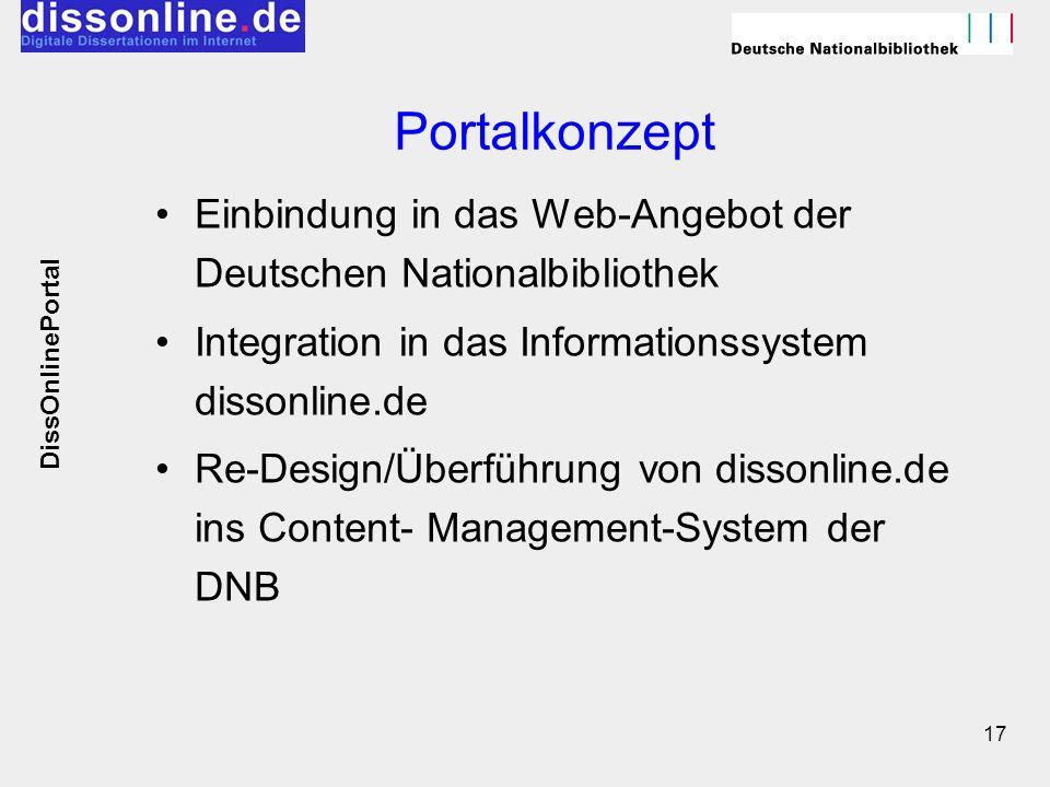 17 Portalkonzept Einbindung in das Web-Angebot der Deutschen Nationalbibliothek Integration in das Informationssystem dissonline.de Re-Design/Überführ