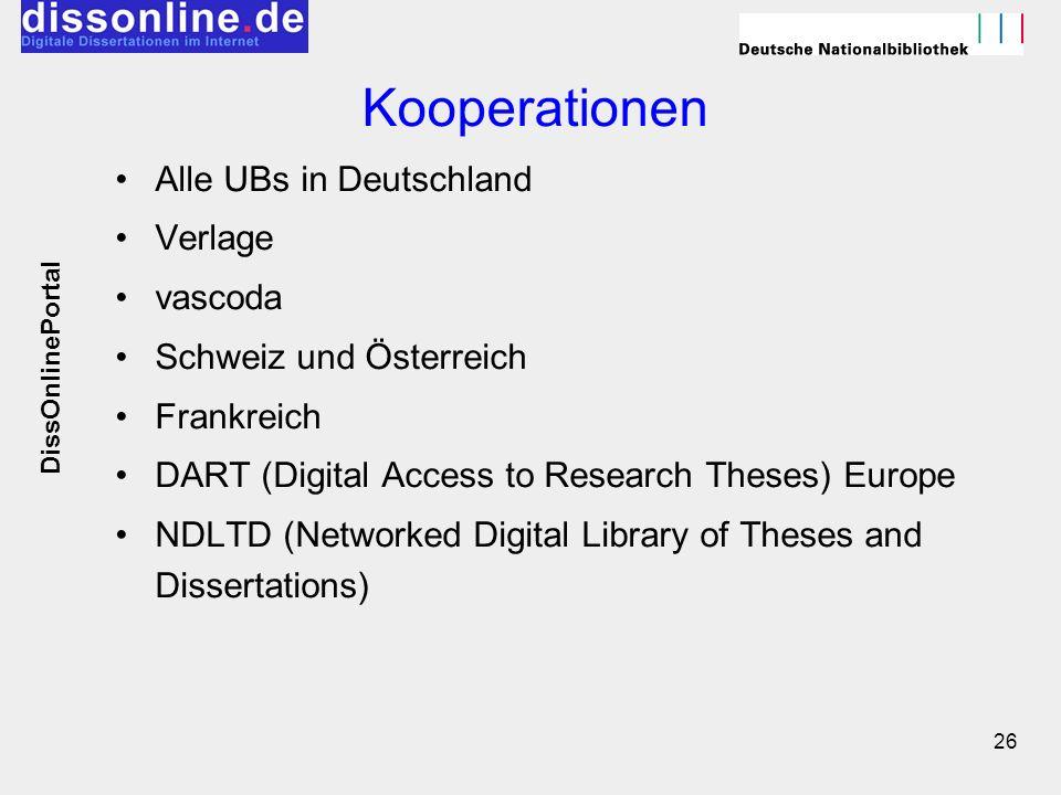 26 Kooperationen Alle UBs in Deutschland Verlage vascoda Schweiz und Österreich Frankreich DART (Digital Access to Research Theses) Europe NDLTD (Netw