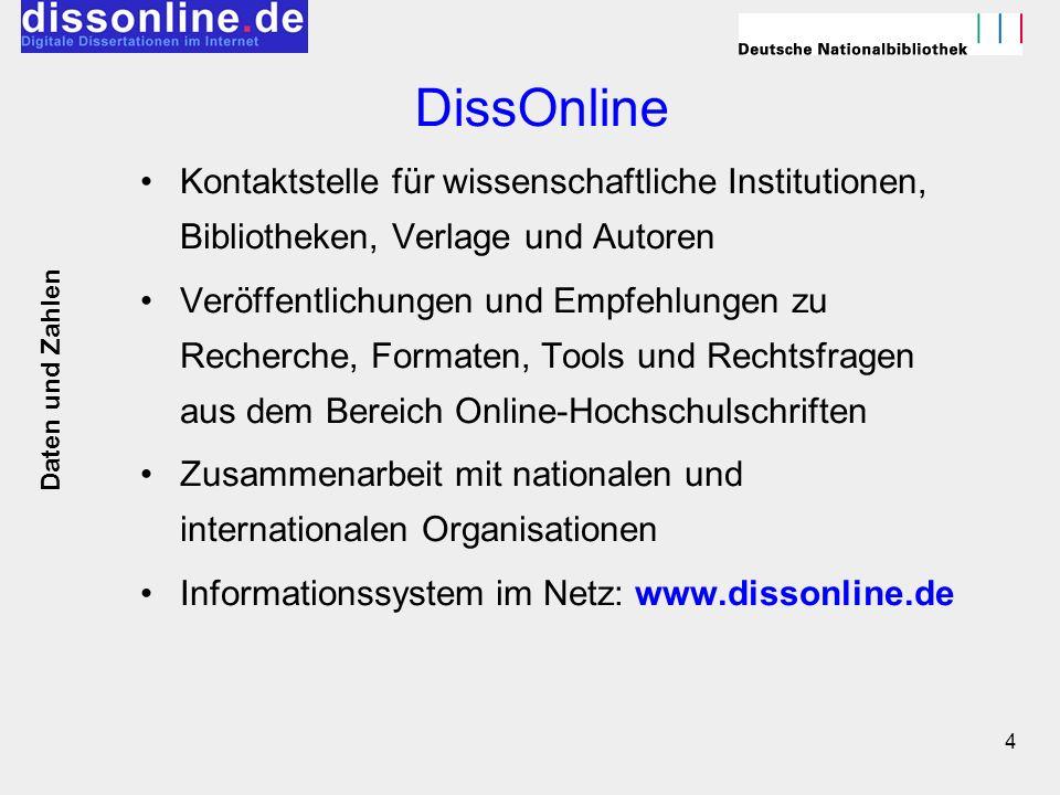 4 DissOnline Kontaktstelle für wissenschaftliche Institutionen, Bibliotheken, Verlage und Autoren Veröffentlichungen und Empfehlungen zu Recherche, Fo