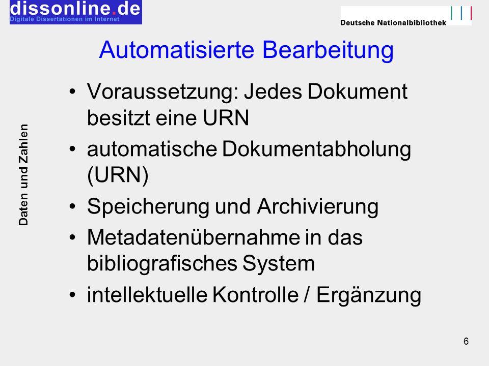 6 Automatisierte Bearbeitung Voraussetzung: Jedes Dokument besitzt eine URN automatische Dokumentabholung (URN) Speicherung und Archivierung Metadaten