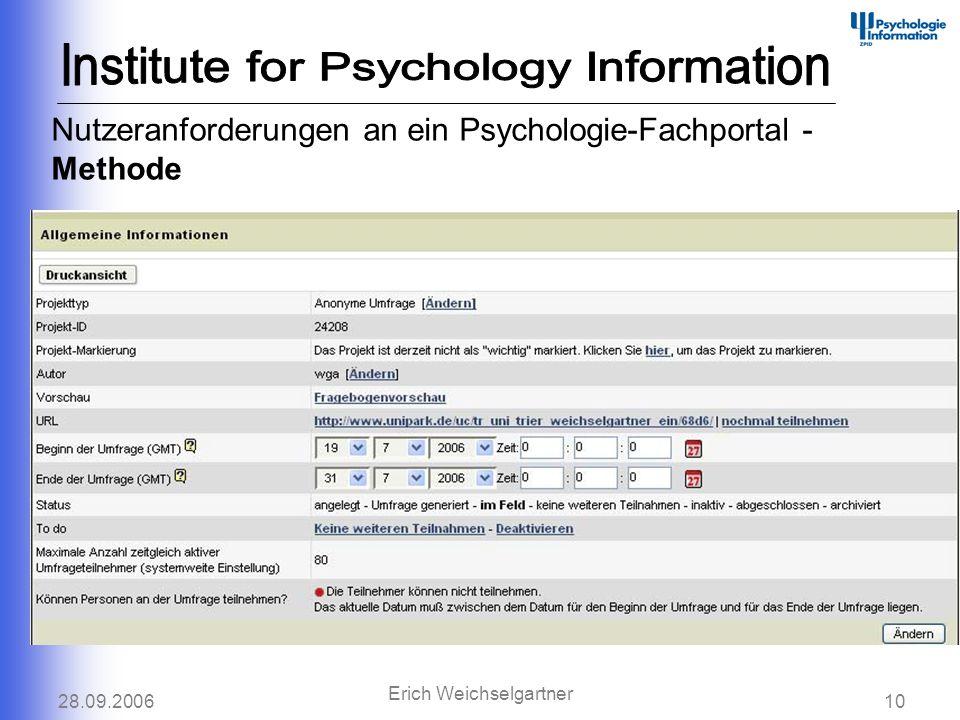 28.09.200610 Erich Weichselgartner Nutzeranforderungen an ein Psychologie-Fachportal - Methode