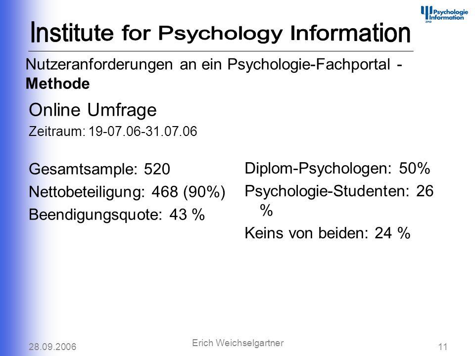 28.09.200611 Erich Weichselgartner Nutzeranforderungen an ein Psychologie-Fachportal - Methode Online Umfrage Zeitraum: 19-07.06-31.07.06 Gesamtsample