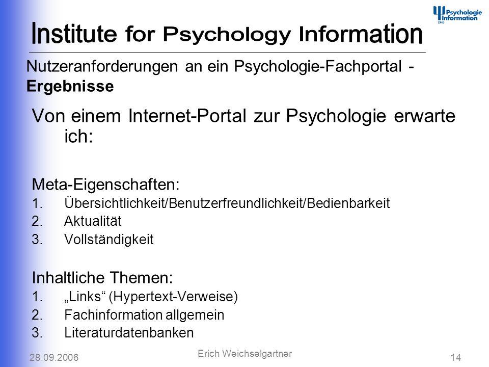 28.09.200614 Erich Weichselgartner Nutzeranforderungen an ein Psychologie-Fachportal - Ergebnisse Von einem Internet-Portal zur Psychologie erwarte ic