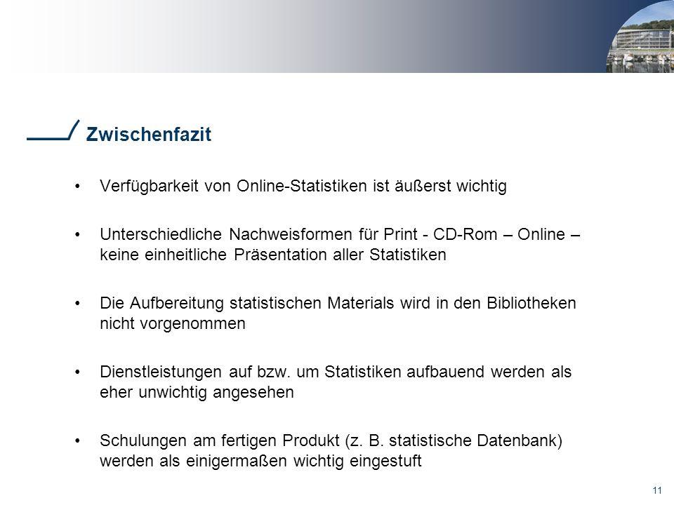 11 Zwischenfazit Verfügbarkeit von Online-Statistiken ist äußerst wichtig Unterschiedliche Nachweisformen für Print - CD-Rom – Online – keine einheitl