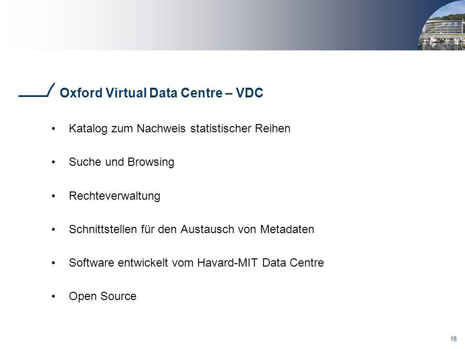 18 Oxford Virtual Data Centre – VDC Katalog zum Nachweis statistischer Reihen Suche und Browsing Rechteverwaltung Schnittstellen für den Austausch von