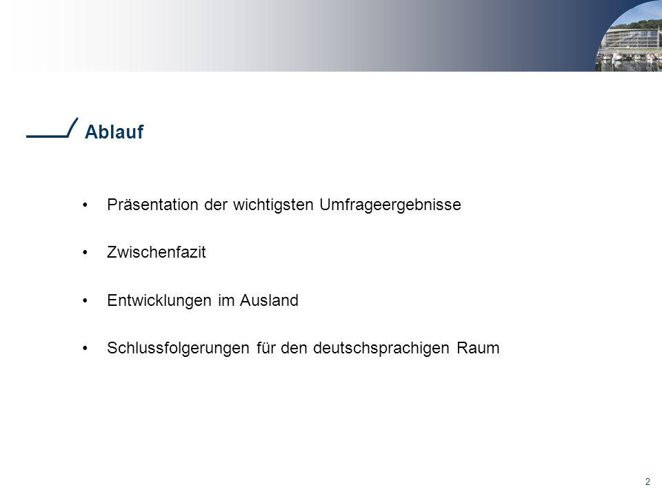 2 Ablauf Präsentation der wichtigsten Umfrageergebnisse Zwischenfazit Entwicklungen im Ausland Schlussfolgerungen für den deutschsprachigen Raum