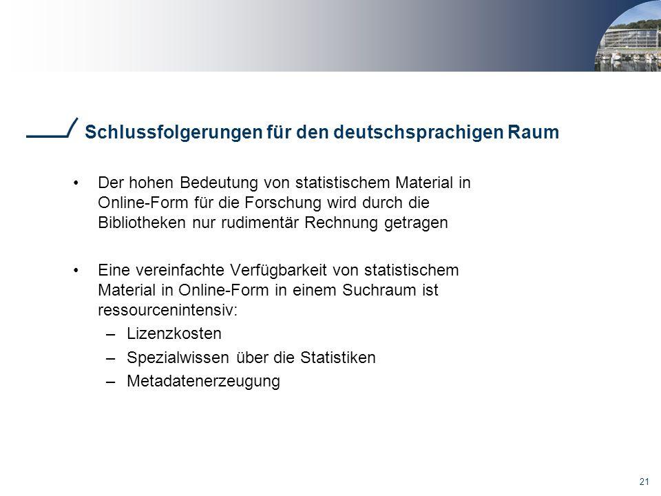 21 Schlussfolgerungen für den deutschsprachigen Raum Der hohen Bedeutung von statistischem Material in Online-Form für die Forschung wird durch die Bi