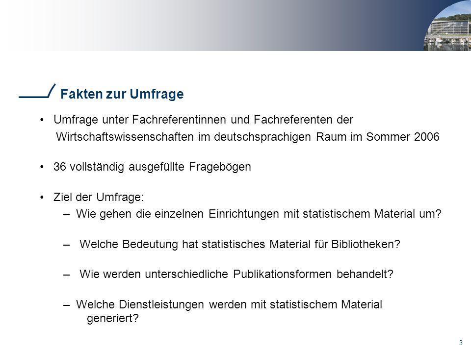 3 Fakten zur Umfrage Umfrage unter Fachreferentinnen und Fachreferenten der Wirtschaftswissenschaften im deutschsprachigen Raum im Sommer 2006 36 voll