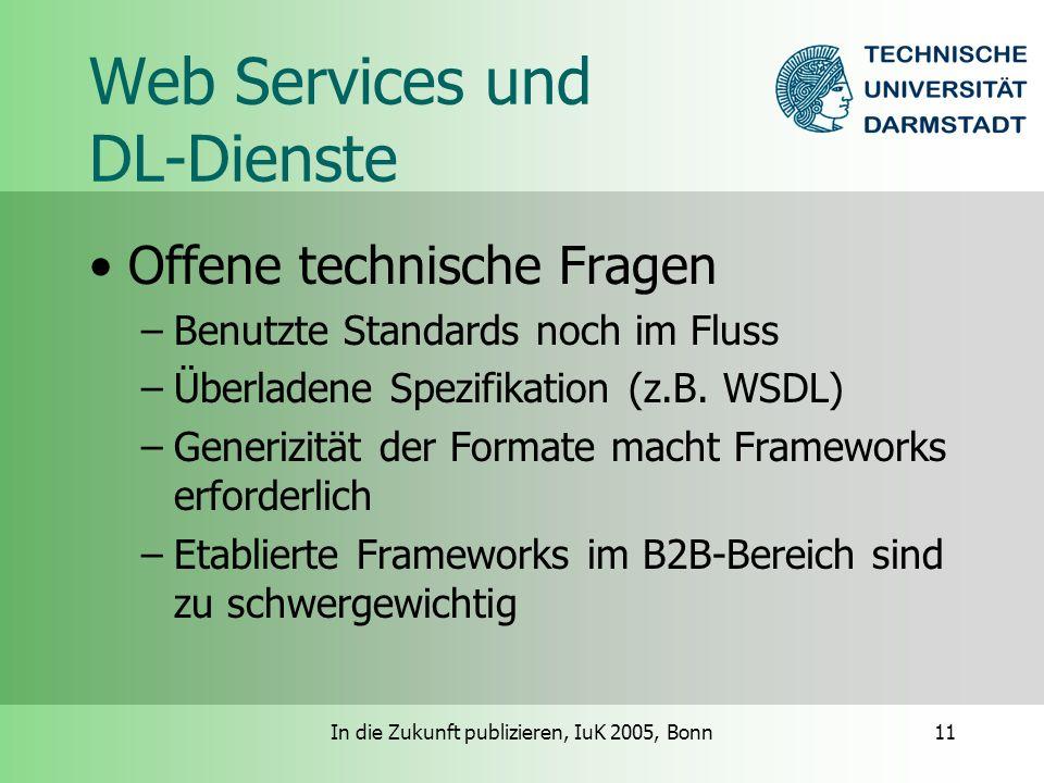 In die Zukunft publizieren, IuK 2005, Bonn11 Web Services und DL-Dienste Offene technische Fragen –Benutzte Standards noch im Fluss –Überladene Spezifikation (z.B.