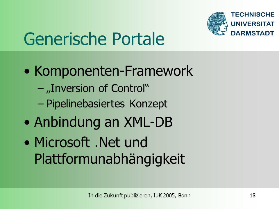 In die Zukunft publizieren, IuK 2005, Bonn18 Generische Portale Komponenten-Framework –Inversion of Control –Pipelinebasiertes Konzept Anbindung an XML-DB Microsoft.Net und Plattformunabhängigkeit