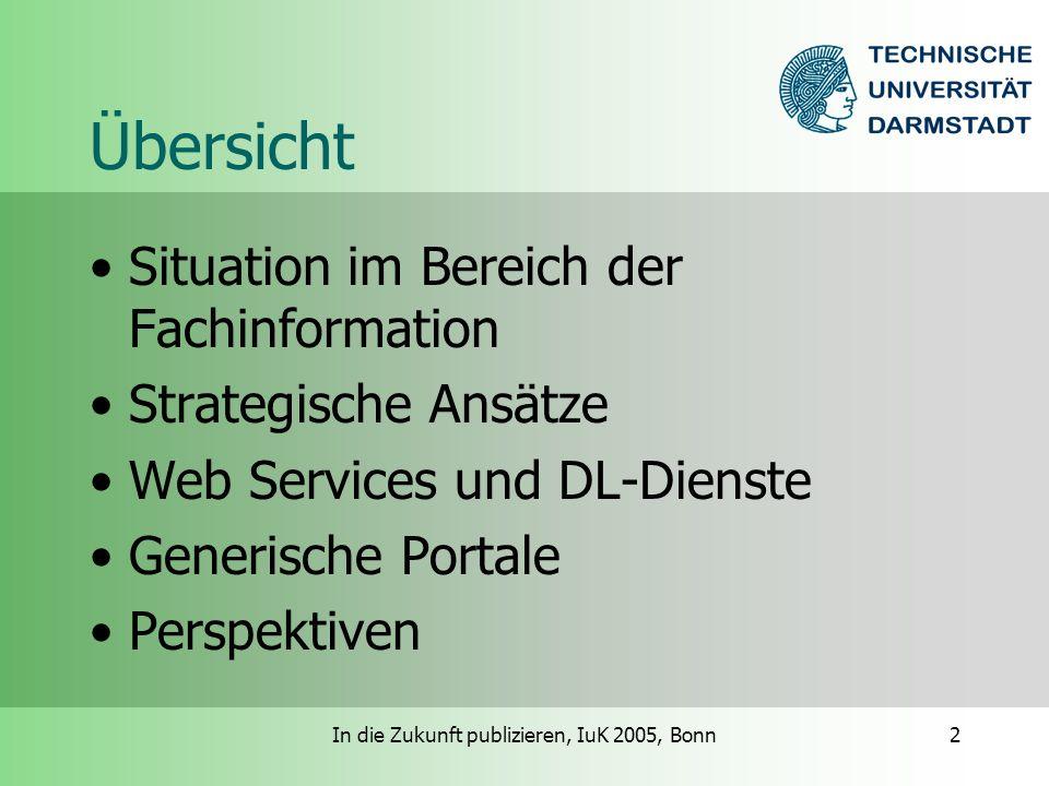 In die Zukunft publizieren, IuK 2005, Bonn3 Situationsbeschreibung Heterogenität von Formaten und Inhalten Probleme stellen sich je nach Fach unterschiedlich Förderung in bestimmten Bereichen unabdingbar Rolle der öffentlichen Hand / des Förderers sehr unklar Politische Willensbildung ist gefordert