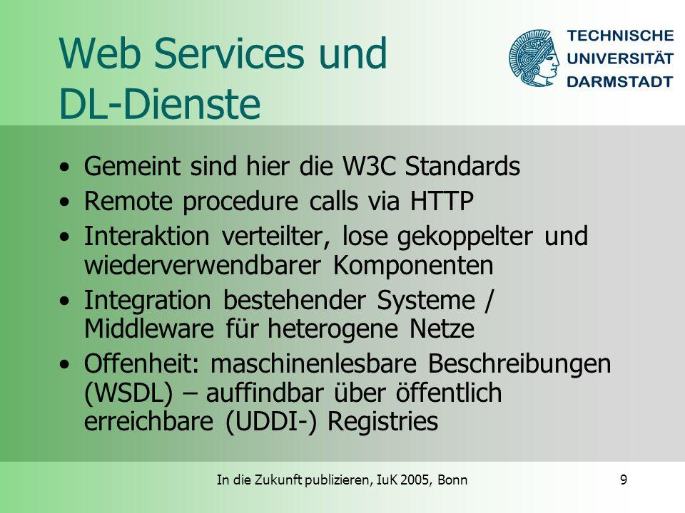 In die Zukunft publizieren, IuK 2005, Bonn9 Web Services und DL-Dienste Gemeint sind hier die W3C Standards Remote procedure calls via HTTP Interaktion verteilter, lose gekoppelter und wiederverwendbarer Komponenten Integration bestehender Systeme / Middleware für heterogene Netze Offenheit: maschinenlesbare Beschreibungen (WSDL) – auffindbar über öffentlich erreichbare (UDDI-) Registries