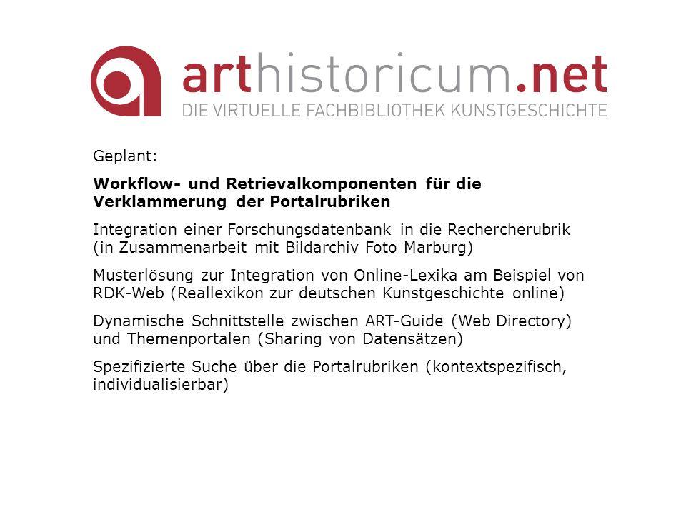 Geplant: Workflow- und Retrievalkomponenten für die Verklammerung der Portalrubriken Integration einer Forschungsdatenbank in die Rechercherubrik (in