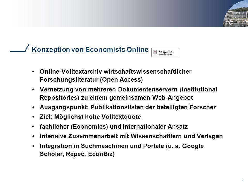 4 Konzeption von Economists Online Online-Volltextarchiv wirtschaftswissenschaftlicher Forschungsliteratur (Open Access) Vernetzung von mehreren Dokum