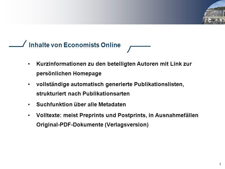 5 Inhalte von Economists Online Kurzinformationen zu den beteiligten Autoren mit Link zur persönlichen Homepage vollständige automatisch generierte Pu
