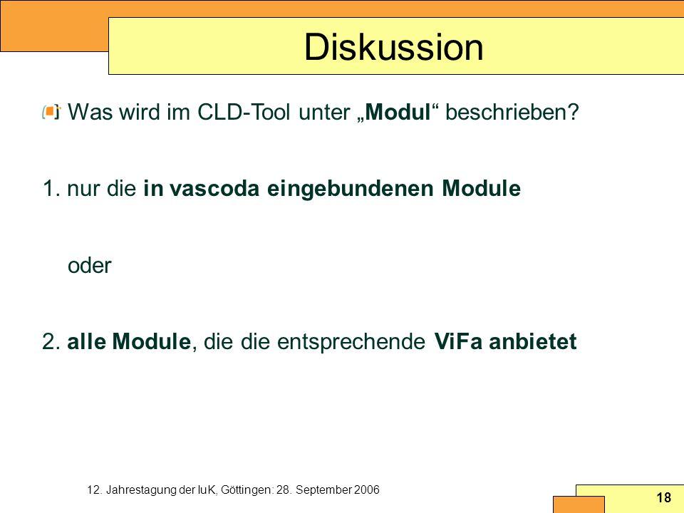 12. Jahrestagung der IuK, Göttingen: 28. September 2006 18 Diskussion Was wird im CLD-Tool unter Modul beschrieben? 1. nur die in vascoda eingebundene