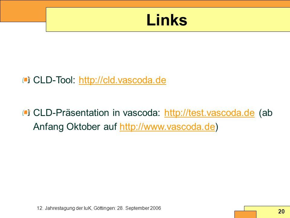 12. Jahrestagung der IuK, Göttingen: 28. September 2006 20 Links CLD-Tool: http://cld.vascoda.dehttp://cld.vascoda.de CLD-Präsentation in vascoda: htt