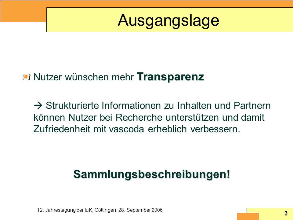 12. Jahrestagung der IuK, Göttingen: 28. September 2006 3 Ausgangslage Transparenz Nutzer wünschen mehr Transparenz Strukturierte Informationen zu Inh
