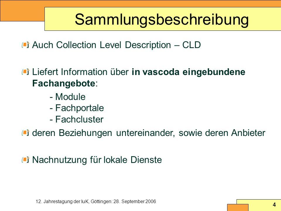 12. Jahrestagung der IuK, Göttingen: 28. September 2006 4 Sammlungsbeschreibung Auch Collection Level Description – CLD Liefert Information über in va