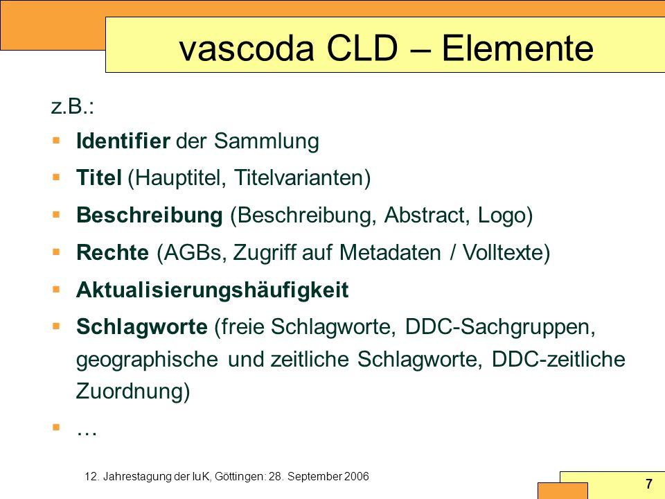 12. Jahrestagung der IuK, Göttingen: 28. September 2006 7 vascoda CLD – Elemente z.B.: Identifier der Sammlung Titel (Hauptitel, Titelvarianten) Besch