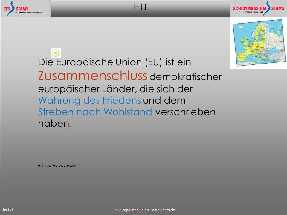 EU he (c) Die Europäische Union - eine Übersicht2 Die Mitgliedstaaten der EU haben gemeinsame Organe eingerichtet.
