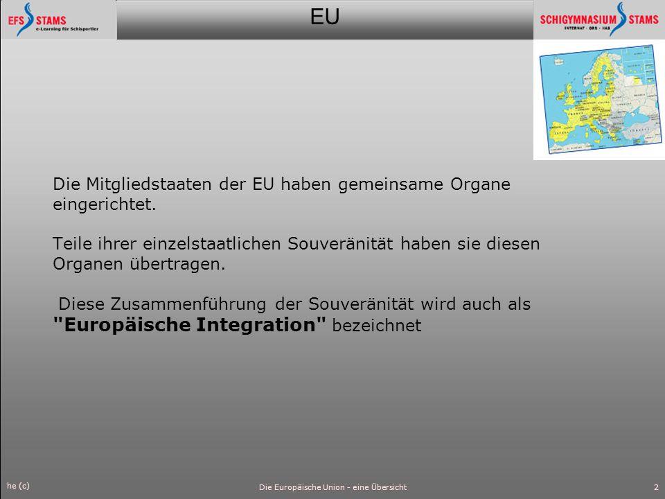 EU he (c) Die Europäische Union - eine Übersicht3 Gründung Historisch gesehen war die Entstehung der EU eine Folge des Zweiten Weltkriegs, um Krieg und Zerstörung in Zukunft zu verhindern.