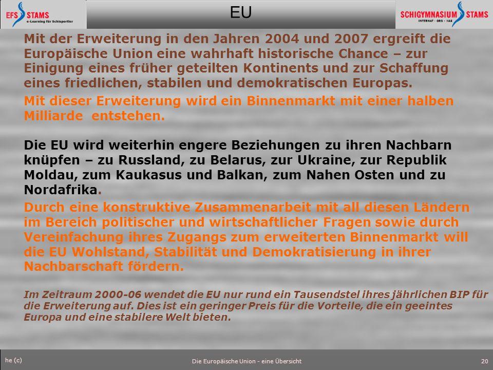 EU he (c) Die Europäische Union - eine Übersicht21 ZDF/ reuters EU-Verfassung in Rom unterzeichnet Berlusconi erinnert an Weitsicht und Mut der Gründungsväter - Schröder: Traum, den viele geträumt haben An historischer Stätte haben die EU-Staats- und Regierungschefs am Freitag die erste europäische Verfassung unterzeichnet.