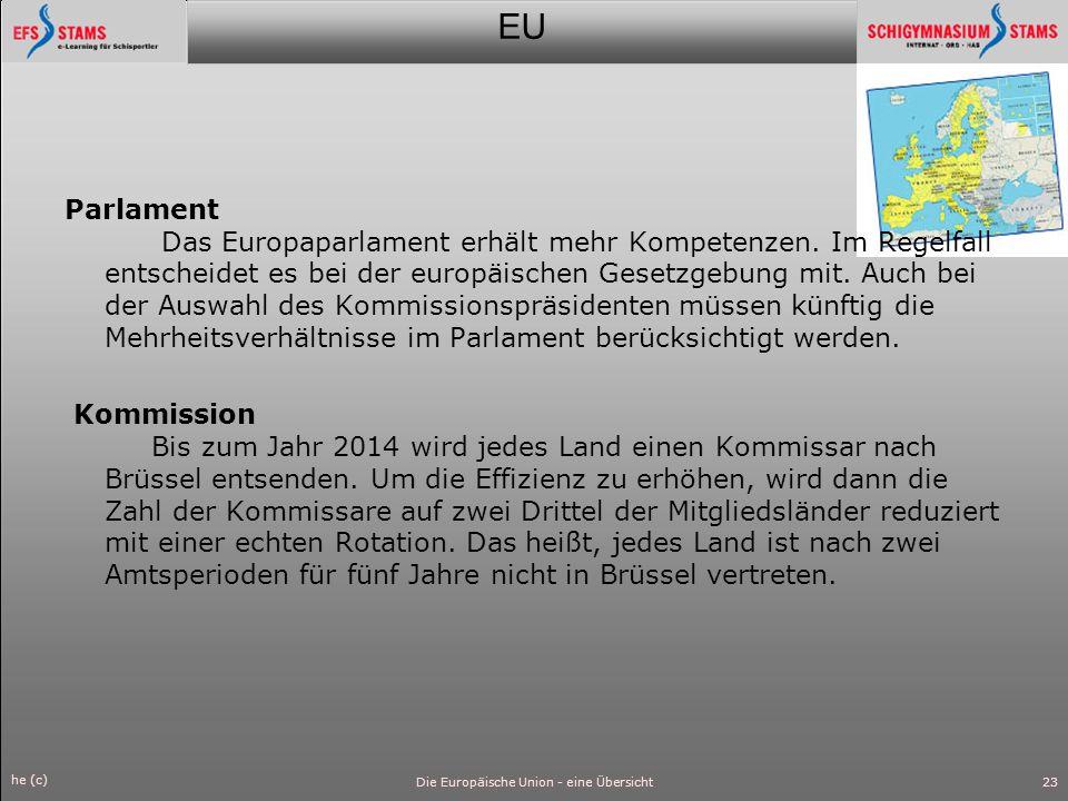 EU he (c) Die Europäische Union - eine Übersicht24 Abstimmungsverfahren Es gilt künftig die doppelte Mehrheit : Ein Beschluss auf der Grundlage eines Vorschlags der EU-Kommission wird gefasst, wenn 55 Prozent oder mehr der Mitgliedstaaten, mindestens aber 15 Länder zustimmen.