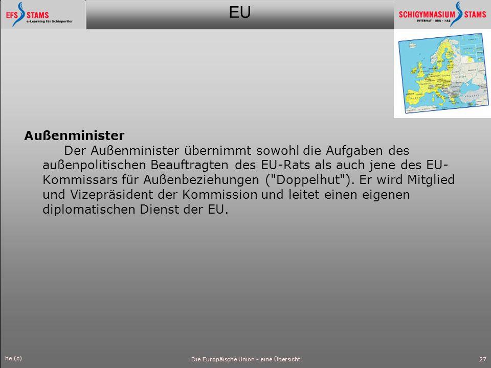 EU he (c) Die Europäische Union - eine Übersicht28 Bürgerbegehren Wenn eine Million Bürger aus EU-Ländern mit Unterschriften ein Gesetz verlangen, muss die Kommission tätig werden.
