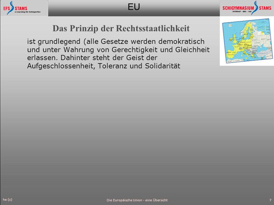EU he (c) Die Europäische Union - eine Übersicht8 Die Organe Europäisches Parlament (gewählt von der Bevölkerung der Mitgliedstaaten), Rat der Europäischen Union (Vertretung der Regierungen der Mitgliedstaaten), Europäische Kommission (Motor und ausführendes Organ), Europäischer Gerichtshof (gewährleistet die Einhaltung der Rechtsvorschriften) und Europäischer Rechnungshof (kontrolliert die nachhaltige und rechtmäßige Verwaltung des EU-Haushalts).