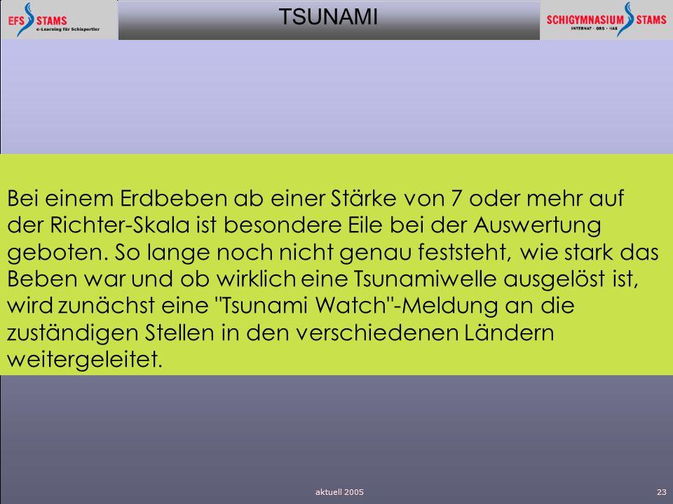 TSUNAMI aktuell 200523 Bei einem Erdbeben ab einer Stärke von 7 oder mehr auf der Richter-Skala ist besondere Eile bei der Auswertung geboten. So lang
