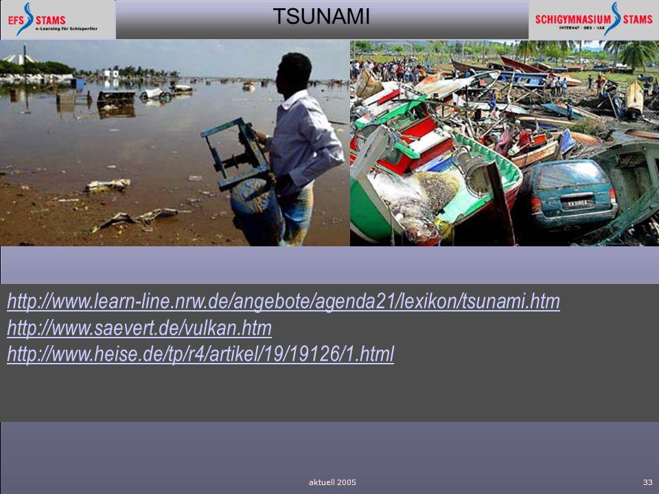 TSUNAMI aktuell 200533 http://www.learn-line.nrw.de/angebote/agenda21/lexikon/tsunami.htm http://www.saevert.de/vulkan.htm http://www.heise.de/tp/r4/a