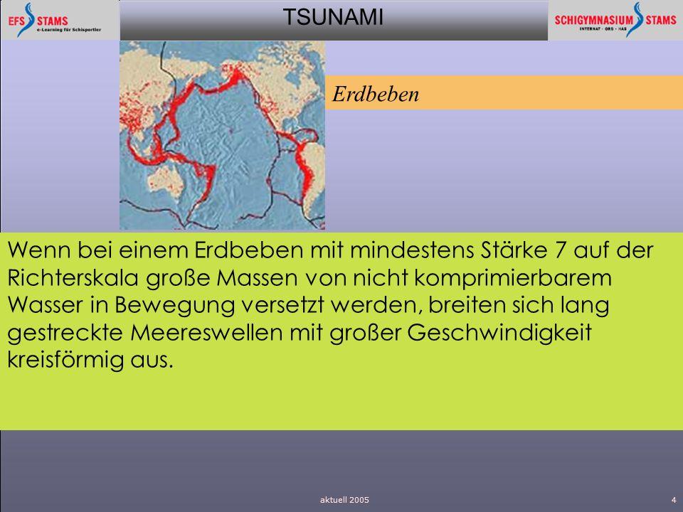 TSUNAMI aktuell 20054 Wenn bei einem Erdbeben mit mindestens Stärke 7 auf der Richterskala große Massen von nicht komprimierbarem Wasser in Bewegung v