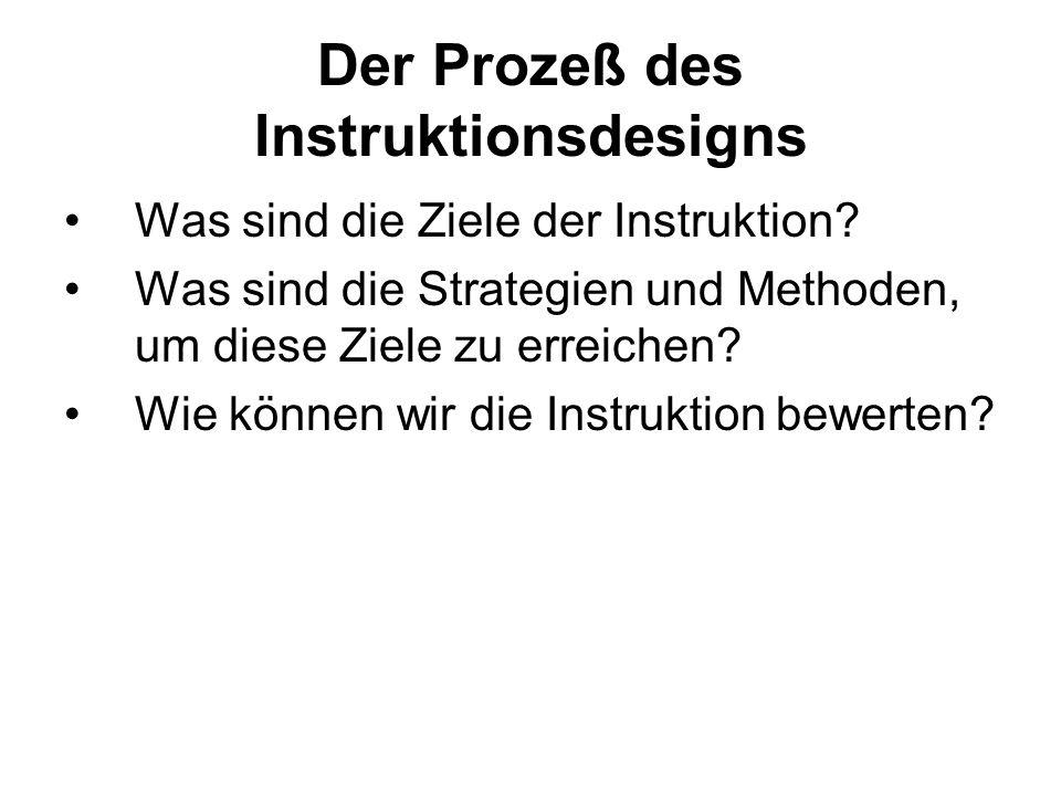 Der Prozeß des Instruktionsdesigns Was sind die Ziele der Instruktion? Was sind die Strategien und Methoden, um diese Ziele zu erreichen? Wie können w
