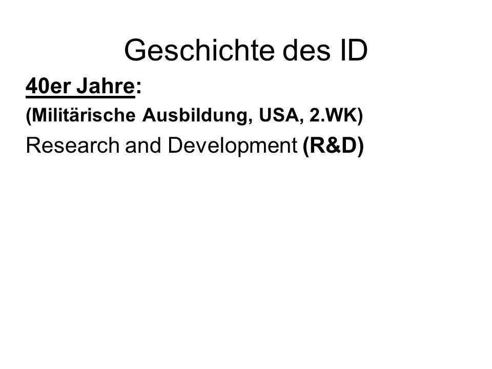 Geschichte des ID 40er Jahre: (Militärische Ausbildung, USA, 2.WK) Research and Development (R&D)