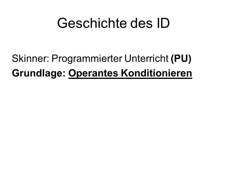Geschichte des ID Skinner: Programmierter Unterricht (PU) Grundlage: Operantes Konditionieren