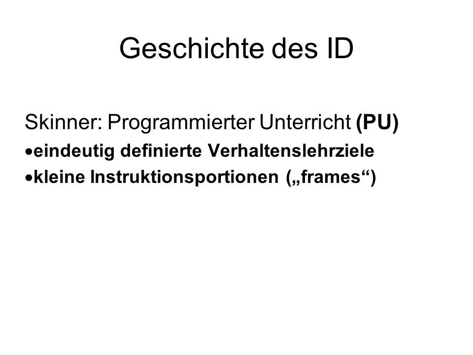 Geschichte des ID Skinner: Programmierter Unterricht (PU) eindeutig definierte Verhaltenslehrziele kleine Instruktionsportionen (frames)