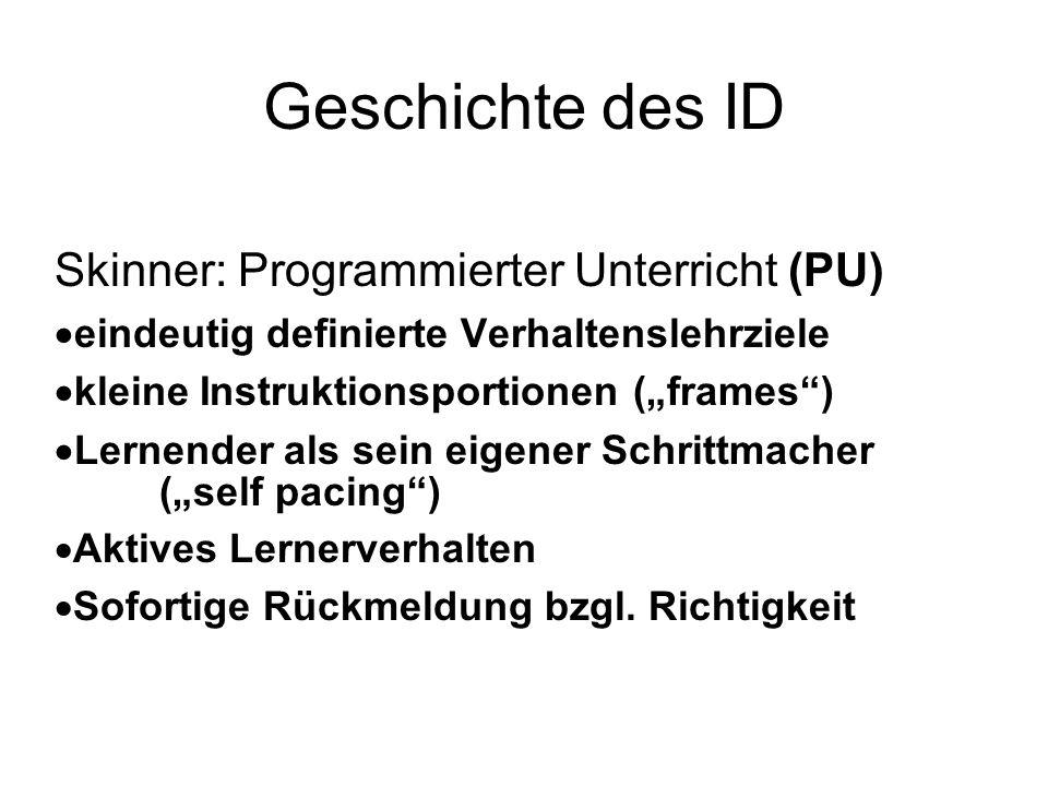 Geschichte des ID Skinner: Programmierter Unterricht (PU) eindeutig definierte Verhaltenslehrziele kleine Instruktionsportionen (frames) Lernender als