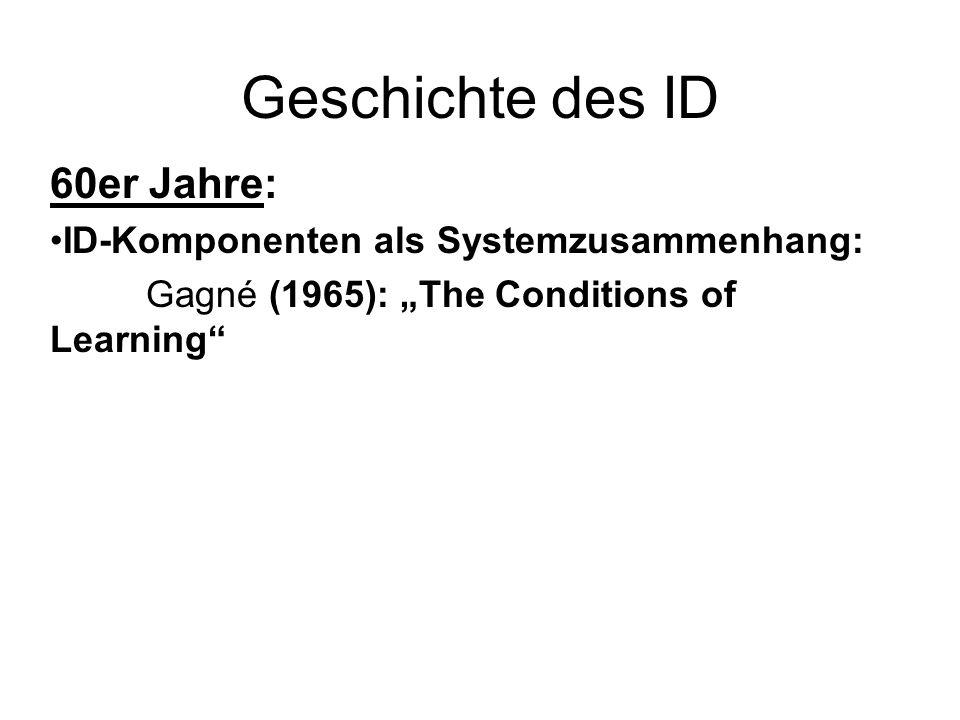 Geschichte des ID 60er Jahre: ID-Komponenten als Systemzusammenhang: Gagné (1965): The Conditions of Learning