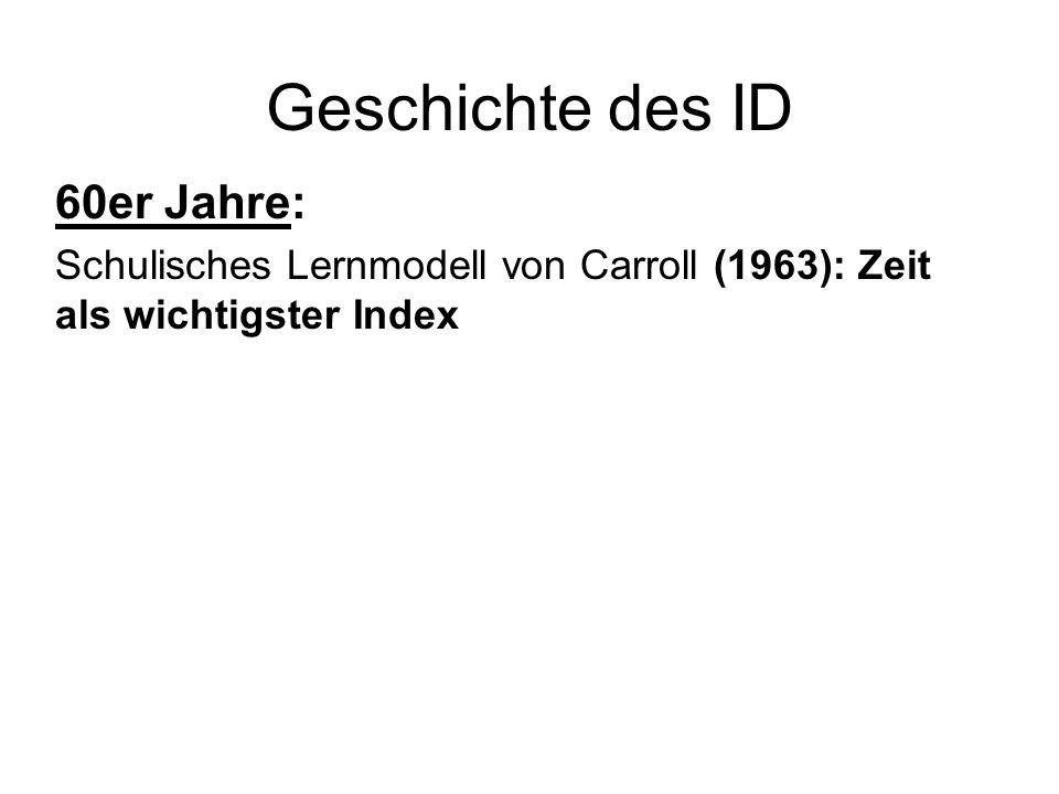 Geschichte des ID 60er Jahre: Schulisches Lernmodell von Carroll (1963): Zeit als wichtigster Index