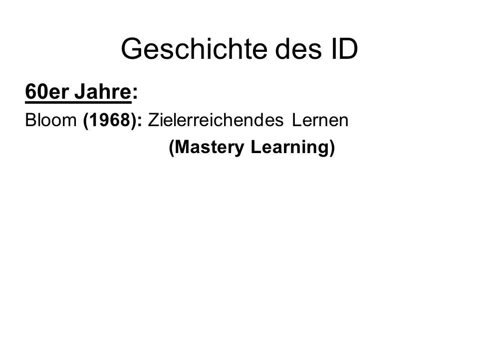 Geschichte des ID 60er Jahre: Bloom (1968): Zielerreichendes Lernen (Mastery Learning)